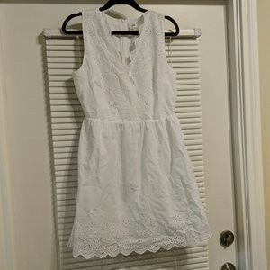 J.Crew White Border Eyelet Dress
